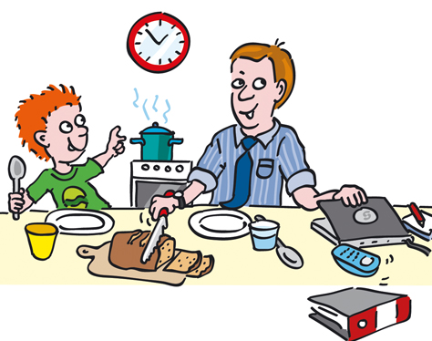 Vater macht Mittagessen