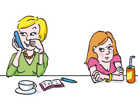 Mutter Tochter telefonieren