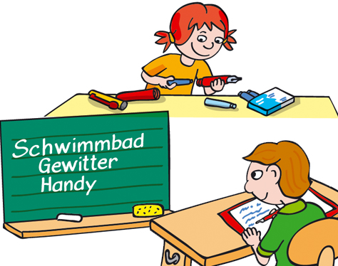 Mädchen Junge Schule Füller Tafel Schreiben