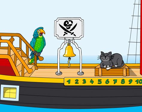 Piratenschiff Papagei Katze