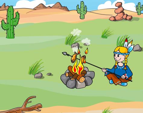 Indianer Feuer Prärie