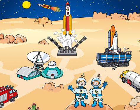 Hauptmenue Weltraum Rakete Astronaut