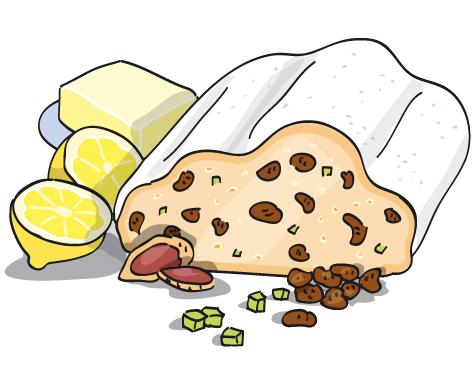 Stollen Zutaten Zitronen Rosinen Butter